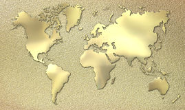 Gold world. World map made of gold Stock Image