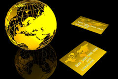 Gold world and card Royalty Free Stock Photos