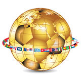 Gold world cup,. Golden ball with country flags Stock Image