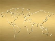 Gold world map Royalty Free Stock Image