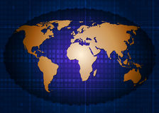 Gold world map with abstract technology background. World map .Blue abstract technology background Royalty Free Stock Photos