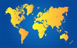 Gold World Map Stock Image