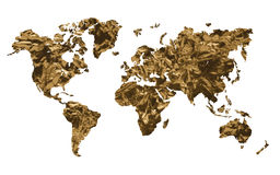 Gold world map Royalty Free Stock Photography