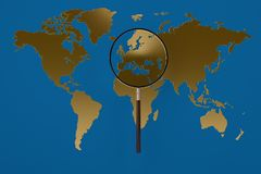 Gold world map magnifying glass.3D illustration. Gold world map magnifying glass. 3D illustration Stock Photography