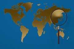 Gold world map magnifying glass.3D illustration. Gold world map magnifying glass. 3D illustration Royalty Free Stock Image