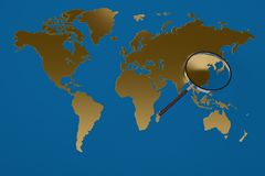 Gold world map magnifying glass.3D illustration. Gold world map magnifying glass. 3D illustration Royalty Free Stock Photos