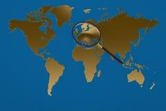 Gold world map magnifying glass.3D illustration. Gold world map magnifying glass. 3D illustration Stock Images