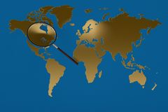 Gold world map magnifying glass.3D illustration. Gold world map magnifying glass. 3D illustration Stock Photos