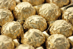 Gold Wrapped Chocolate Candy Royalty Free Stock Photography