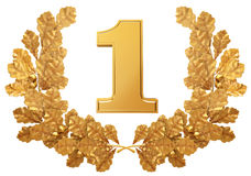 Gold wreath of oak leaves with the number one Stock Photos