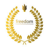 Gold wreath with word freedom and cresset over white Royalty Free Stock Image