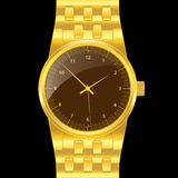 Gold wrist watch Royalty Free Stock Photos