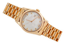 Gold wrist watch with diamonds Royalty Free Stock Images