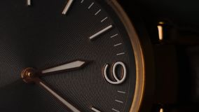 Gold wrist watch time lapse close up. Time is passing by. Gold wrist watch time lapse close up. Time is passing stock video footage
