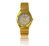 Gold wrist watch. On a white background, with reflection on the surface Royalty Free Illustration