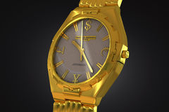 Gold wrist watch. Gold wristwatch with emblems of banknotes of the world on the dial Royalty Free Illustration