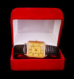 Gold wristwatch Royalty Free Stock Photos