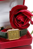 Gold wristwatch and a red rose Royalty Free Stock Image