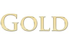 Gold written in golden letters Stock Images