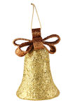 Gold xmas bell isolated Royalty Free Stock Image