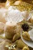 Gold xmas decorations Royalty Free Stock Image
