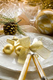 Gold xmas table Stock Photography