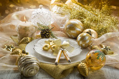 Gold xmas table Royalty Free Stock Image