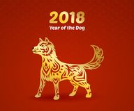 Gold year of the dog Royalty Free Stock Image