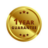 Gold 1 year Guarantee label, badge, symbol, mark, emblem. Use for your product, business, etc. Gold Guarantee label is  and scalable  in EPS format Royalty Free Stock Photography