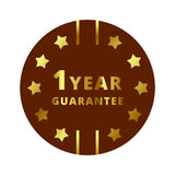 Gold 1 year Guarantee label, badge, symbol, mark, emblem. Use for your product, business, etc. Gold Guarantee label is  and scalable  in EPS format Stock Images