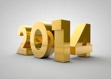 Gold 2014 year. 2014 gold lettering on gray background stock illustration