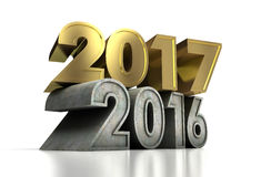 2017 Gold Year. New Year 2017 and Olds computer generated image Stock Photography