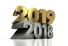 2019 Gold Year and Old. Computer generated image Stock Image