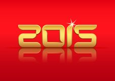 Gold 2015 year with reflection. Vector Gold 2015 Year with Reflection on Red Background Stock Illustration