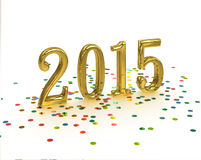 Gold Year 2015 on white background Stock Images