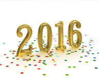 Gold Year 2016 on white background. Gold sign New Year 2016 on white background with confetti Royalty Free Illustration