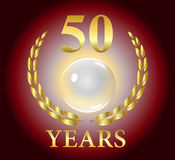 Gold 50 years celebration laurel leaf wreath with golden glowing glass ball in middle on red background Royalty Free Stock Images