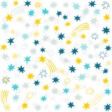 Gold yellow blue gray navy messy little stars. Gold yellow blue gray navy many messy little stars beautiful holiday seamless pattern on white background Royalty Free Stock Photos