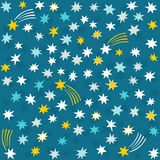 Gold yellow blue navy messy stars on dark Stock Image