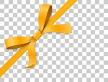 Gold, yellow bow knot and ribbon  on white background. Vector illustration 3d top view. Gold, yellow bow knot and ribbon  on white background. Happy birthday Royalty Free Stock Photo