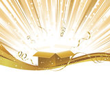 Gold Yellow Celebration Light Burst with Gift. Golden shiny wave with white copy space and gift box with bursting light beams and ribbons at top Royalty Free Stock Photography
