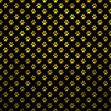Gold Yellow Dog Paw Metallic Foil Polka Dot Black Background Royalty Free Stock Photo