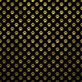 Gold Yellow Dog Paw Metallic Foil Polka Dot Black Background. Dog Paws Gold Black Metallic Foil Polka Dot Texture Background Pattern Royalty Free Stock Photo