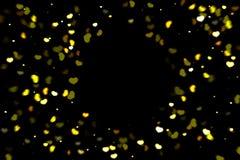Hearts bokeh overlay, abstract background, shiny gold hearts bokeh. Gold and yellow hearts bokeh overlay, hearts photo overlay, abstract background, shiny gold royalty free illustration
