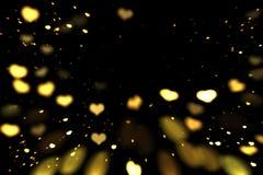 Hearts bokeh overlay, abstract background, shiny gold hearts bokeh. Gold and yellow hearts bokeh overlay, hearts photo overlay, abstract background, shiny gold stock illustration