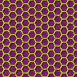 Gold yellow hexagon wire mesh seamless texture on purple background Royalty Free Stock Photos