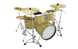 Gold or yellow jazz drums isolated royalty free stock photo
