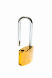 A gold(yellow) padlock(combination lock, bicycle lock) locked is Royalty Free Stock Image