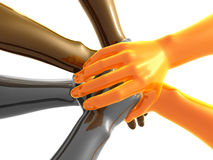 Gold and yellow teamwork symbol 3d arms Royalty Free Stock Images