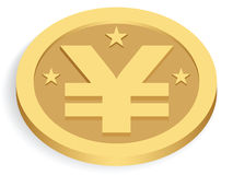 Gold yen coin. Isolated on white stock illustration